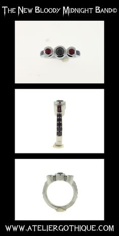 Bloody Midnight Band© - Fine Custom Gothic Alternative Bridal Engagement Ring Black Diamond Natural Ruby Ring Band