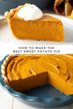 The Best Sweet Potato Pie Recipe! Learn How To Make Sweet Potato Pie that is both easy and ridiculously delicious! The Best Sweet Potato Pie Recipe! Learn How To Make Sweet Potato Pie that is both easy and ridiculously delicious! Homemade Sweet Potato Pie, Vegan Sweet Potato Pie, Sweet Potato Cheesecake, Sweet Potato Biscuits, Sweet Potato Recipes, Sweet Potatoe Pie, Sweet Potato Skins, Paleo Dessert, Dessert Recipes