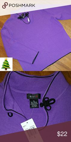Pretty purple Evie sweater Beautiful, rich purple sweater with black stripe around neck, black at cuffs and hem, pretty knot and hoop rope closure at collar Evie Sweaters