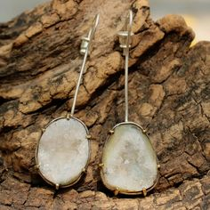 White druzy druzy earrings on silver pole with sterling silver backing Check more at