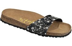 Papillio Madrid Magnolia Black Birko-Flor This simple one-strap sandal is jazzed up by fashion forward treatments, colors and materials. The contoured cork footbed provides lots of arch support, shock absorption and flexibility for comfy all day wear. #birkenstock #birkenstockexpress.com  $69