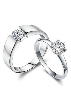 Cheap Diamond Engagement Rings for Women and Men, Simple Promise Rings for Couples, Cubic Zirconia Classic Wedding Rings in Sterling Silver, Matching His and Hers Jewelry Set @ iDream-Jewelry.Com #DiamondWeddingRingsforMen #promiseringsformen #menweddingrings