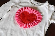 Ruffle Heart Shirt. Make this adorable Ruffle Heart Shirt this Valentine's Day for your little sweetheart. Use the heart pattern to make this ruffled embellishment for any shirt. It's an easy sewing project that can be made in under an hour.