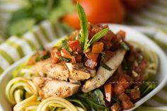 Bruchetta zucchini chicken pasta - healthy meal option