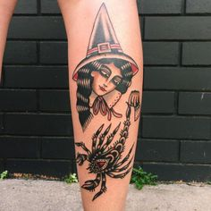 """alexishepburn: """"A witch holding a scorpion for Caitlin!! Thanks for making the big drive up it was lovely to meet you and Ben :) (at Crossfire Tattoos and Piercing) """""""