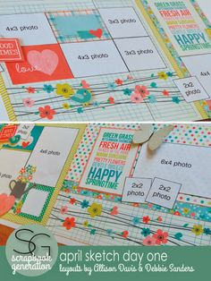 scrapbook generation: April's Sketch Day One layouts...part of the Super Sketch Club.