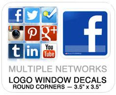 Social Media Decals and Window Clings for your Brand! Support Local and Encourage Local Fans of your Online Community.