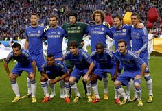 Chelsea FC, Fernando Torres, Juan Mata, David Luiz, Oscar, Frank Lampard, Cesar Azpilicueta, Ashley Cole, Ramires, Branislav Ivanovic, Gary Cahill. Benfica 1-2 Chelsea, Chelsea is a Champion of Europa League 2013. May 15, 2013.