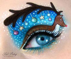 Ojo de una chica usado para pintar un reno