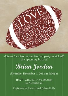 Football Themed Baby Shower Invitation - Digital File