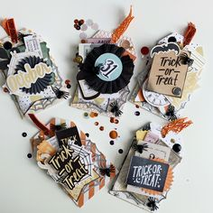 Love me some layered tags 🧡🖤 Halloween Paper Crafts, Halloween Tags, Halloween Projects, Holidays Halloween, Fall Crafts, Paper Plate Crafts, Paper Crafting, Junk Art, Crate Paper