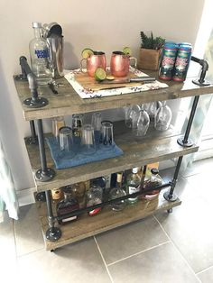 Classic Gray with Black Iron Pipe Bar Cart