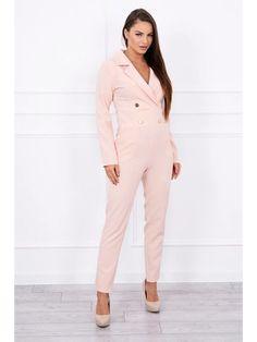 Dámsky ružový overal s véčkovým výstrihom a ozdobnými gombíkmi Jumpsuit, Dresses, Fashion, Overalls, Vestidos, Moda, Fashion Styles, Jumpsuits, Catsuit