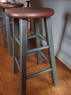 AS Chalk Paint Stool.  Legs in Aubusson Blue w dark wax and seat painted with Primer Red w lite wash of Graphite over it, also coated in dark wax.  So pretty in my turquoise kitchen!