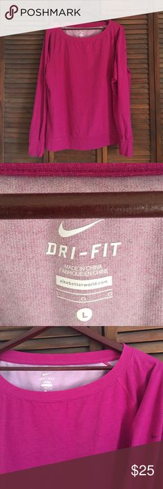 Nike Dri-Fit Lounge Crewneck EUC 🚫 NO TRADES 🚫 EUC. Size L. Relaxed fit. Worn & washed once. Super comfy & soft! Fuschia. Nike swoosh on left tricep. Throw over sports bra to workout in or to take naps in. 😁 Hey, I don't judge! OFFERS ARE WELCOMED 😊💕 Nike Tops Sweatshirts & Hoodies