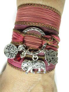 Sacred Elephant Namaste Silk Wrap Bracelet Hamsa Yoga by HVart, $29.99