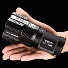 NiteCore Tiny Monster hand-sized flashlight is ultra bright, super effective, easy to use, and waterproof. Is the world's smallest 3500 lumen LED flashlight and… Small Flashlights, Bright Led Flashlight, Punch In The Face, Cool Gadgets, Just In Case, Survival, Fancy, Stuff To Buy, Tactical Gear