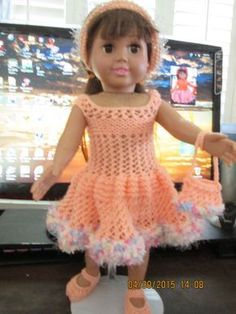 Ladyfingers - AG Doll - Birthday Party - Pink Yarn-Over Dress, Panties, Shoes, Purse, Headband
