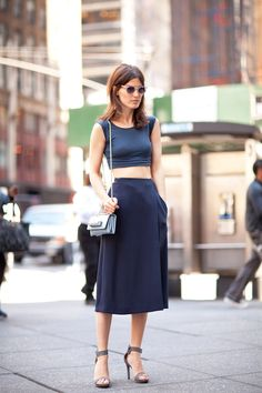 this looks quite similar to an outfit I'm planning on wearing for fashion week! But you know, I LOVE a crop top/high waisted skirt combo.