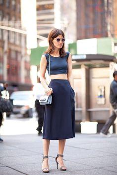 Crop top + high waist skirt