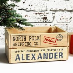 Personalised Christmas Eve Box, Wooden Xmas Shipping Crate, Special Delivery From Santa, - Wood Crates Shipping Christmas Eve Crate, Xmas Eve Boxes, Personalised Christmas Eve Box, Family Christmas, Christmas Vinyl, Christmas Parties, Christmas Decor, Wooden Shipping Crates, Boyfriend Anniversary Gifts