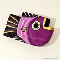 Bois Decor poisson peint violet Folk Art fait à la main dans le Mississippi OOAK