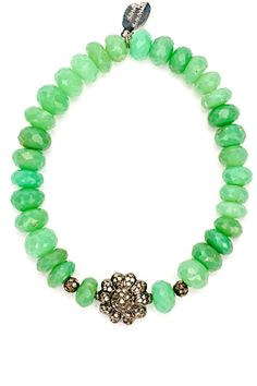 Double-Sided Diamond Flower Chrysoprase Bracelet by 88 by Sandy Simonian