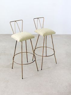 mid century stools / pair of 60s bar stools on Etsy, $450.00