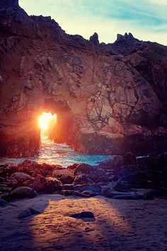 End of the Tunnel: Pfeiffer Beach, Big Sur, CA so pretty!!! I'd love to capture a photo like this