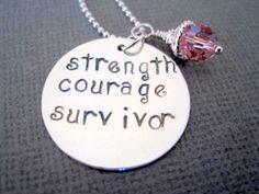 Handsatamped necklace strength courage survivor by marybeadz, $33.00