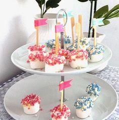 marshmallow met muisjes, leuk voor kinderen op een kraamfeest of als traktatie op school bij het krijgen van een broertje of zusje