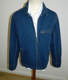 mens Blue Harbour / M & S blue denim style summer jacket size Medium Ref (A102)
