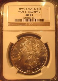 1880 S Silver Morgan Dollar NGC MS 64 Vam 11 0/9 Over Date Mint Error Rare Coin