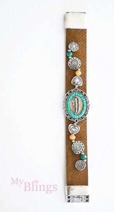 Armband bruin/turquoise - myblings.nl