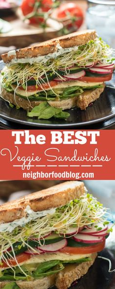 Loaded with tons of fresh summer produce and herbed cream cheese, these are the best veggie sandwiches I've ever had!