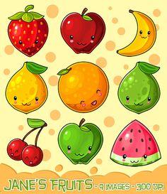 Kawaii Fruit Clipart  Produce Download  Kawaii by DigitalArtsi Fruit Clipart, Kawaii Fruit, Fruit Illustration, Food Illustrations, Graphic Illustration, Kawaii Chibi, Kawaii Cute, Kawaii Anime, Kawaii Drawings