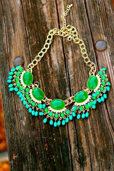 Reddress // All The Fanfare Necklace-Emerald - $32.00