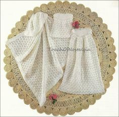 """Vtg Crochet HEIRLOOM CHRISTENING GOWN Set Crochet Pattern -  Dainty Long Gown 36"""" Length / Matching Short Dress and Baby Shawl - Beautiful"""