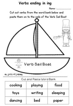 An Action Verb Cut and Paste worksheet Spelling Test Template, Spelling Worksheets, Free Kindergarten Worksheets, 1st Grade Worksheets, Spelling Words, Worksheets For Kids, Cut And Paste Worksheets, Action Verbs, Interesting Topics