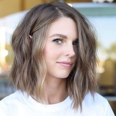 60 Fun and Flattering Medium Hairstyles for Women Medium Ash Brown Bob Haircut Medium Hair Cuts, Short Hair Cuts, Medium Hair Styles, Curly Hair Styles, Natural Hair Styles, Women Hair Cuts, Short Hair Side Part, Medium Ash Brown Hair, Cute Short Hair