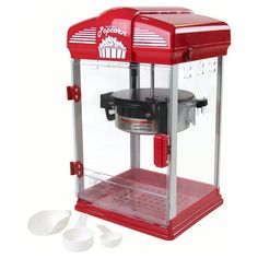 The West Bend Theater Crazy Popcorn Machine brings the movie theater experience to your home. This authentic-looking movie popcorn maker is easy to use and clean and provides enough popcorn for a party. Theater Room Decor, Movie Theater Rooms, Home Cinema Room, Home Theater, Movie Theater Party, Basement Movie Room, Movie Rooms, Dream Theater, Movie Party