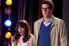 Rachel and Finn as Brad and Janet for Rocky Horror.