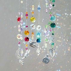Diy Arts And Crafts, Diy Crafts, Hanging Crystals, Mobile Art, Beaded Curtains, Sun Catcher, Mobiles, Wind Chimes, Decoration