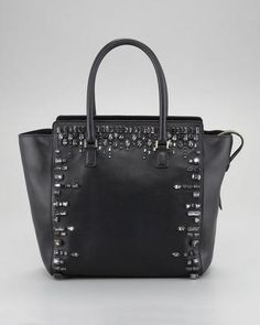 Valentino Crystal-Trimmed Tote Bag - Bergdorf Goodman