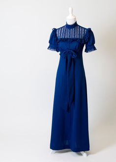 Gorgeous 1970s Vintage Navy Blue Floor-Length Dress- Lace and Ruffle Details on Etsy, $48.00