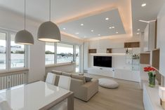 interior design in a sea house I know very well 💗🏡💗 and. Ceiling Design Living Room, Home Ceiling, Home Room Design, House Design, Apartment Interior, Home Living Room, Interior Design Living Room, Living Room Designs, Casa Milano