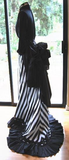 beautiful black and white striped bustle dress. its kinda #steampunk but mostly just #victorian