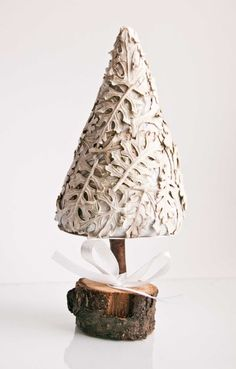Christmas tree  holiday decoration  white and grey by kaleda, $15.00