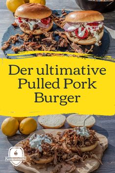 Pulled Pork Burger, Pork Burgers, Slow Cooking, Party Snacks, Ribs, Toast, Food And Drink, Ethnic Recipes, Sandwiches
