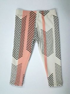 Organic Cotton Leggings - coral and grey